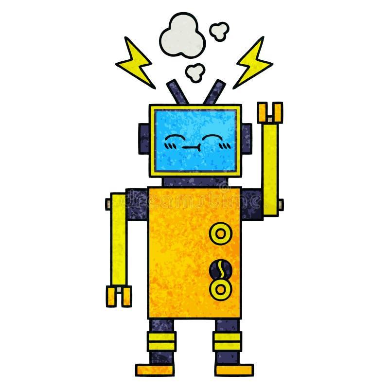 减速火箭的难看的东西纹理动画片发生故障的机器人 库存例证
