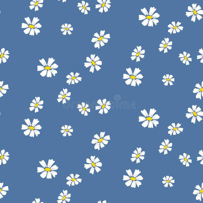 减速火箭的雏菊简单的蓝色florals无缝的传染媒介样式 向量例证