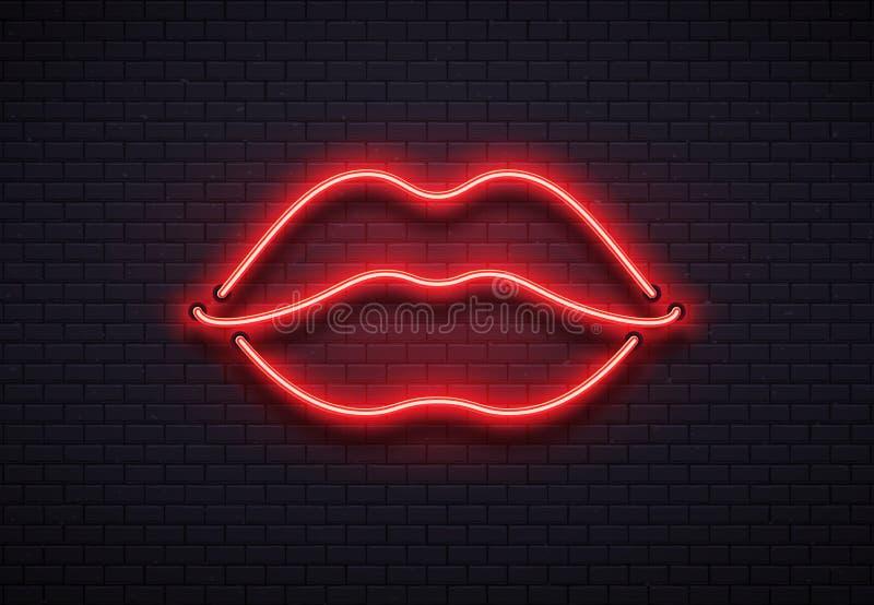 减速火箭的霓虹嘴唇标志 浪漫亲吻,亲吻夫妇嘴唇酒吧红色霓虹灯和华伦泰言情俱乐部传染媒介 向量例证