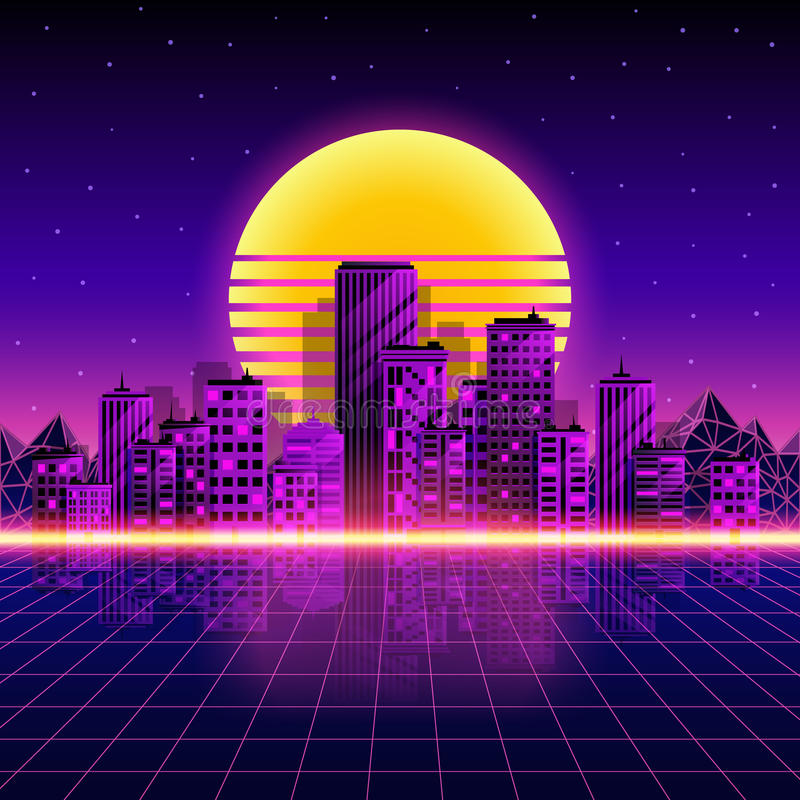 减速火箭的霓虹城市背景 霓虹样式80s 也corel凹道例证向量 向量例证