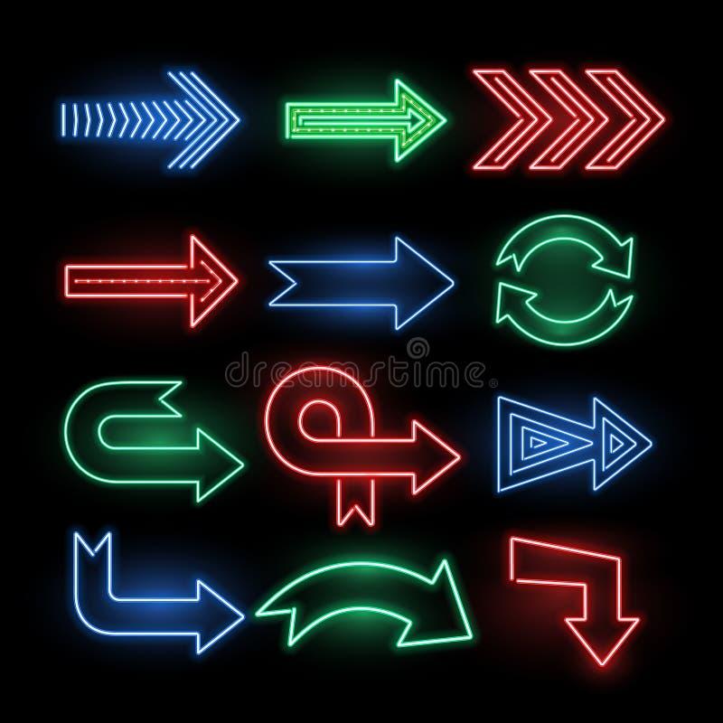 减速火箭的霓虹方向箭头传染媒介标志,象 向量例证