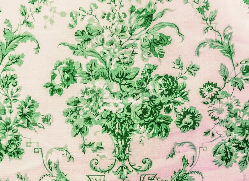 减速火箭的鞋带花卉无缝的样式绿色织品背景葡萄酒样式 免版税库存照片