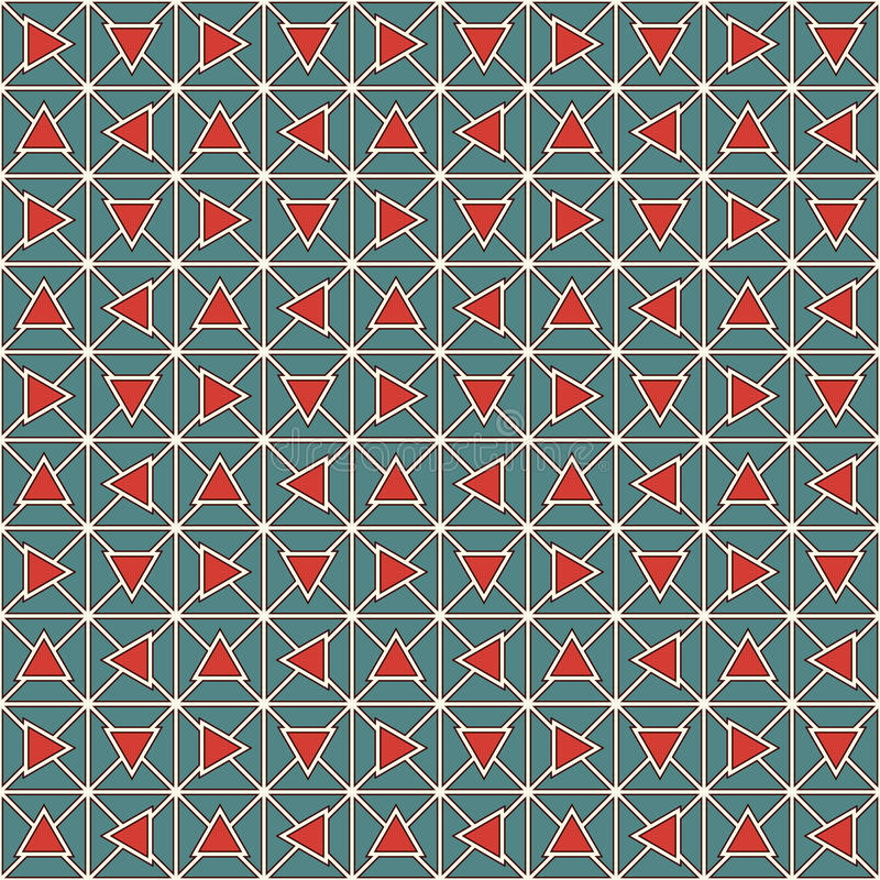 减速火箭的颜色三角和块式链提取背景 马赛克墙纸 与几何装饰品的无缝的样式 向量例证