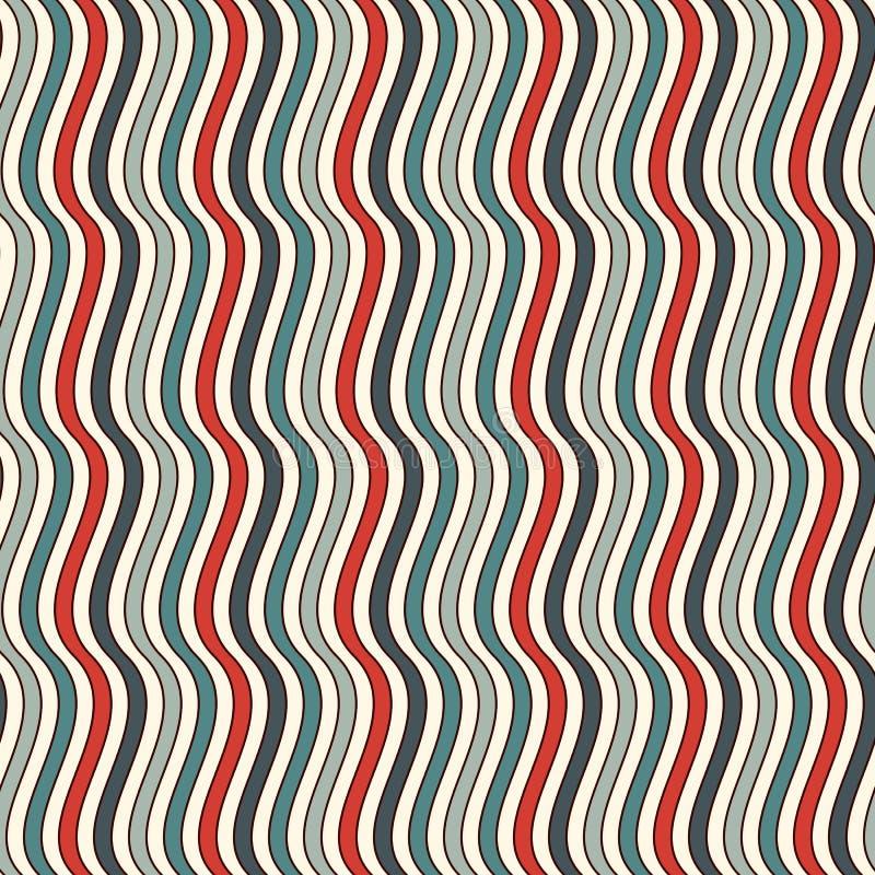 减速火箭的颜色垂直的波浪条纹无缝的样式 重复的线墙纸 与经典主题的抽象背景 皇族释放例证