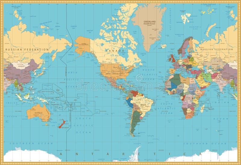 减速火箭的颜色美国被集中的政治世界地图 库存例证