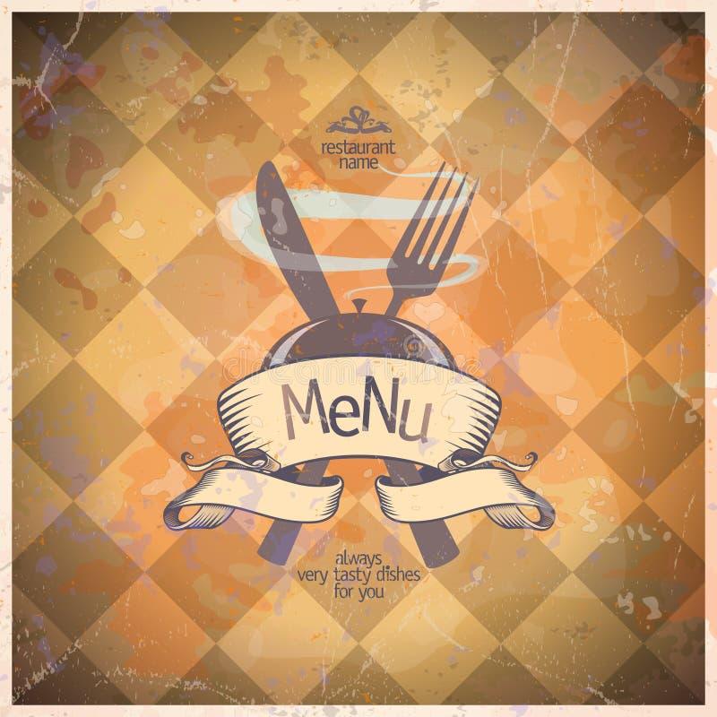 减速火箭的餐馆菜单卡片设计。 库存例证