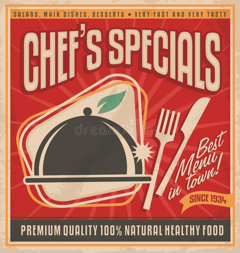 减速火箭的餐馆菜单模板 向量例证