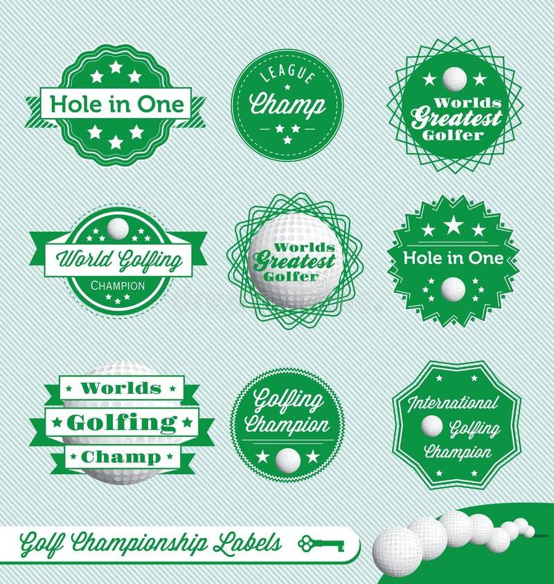 减速火箭的高尔夫球标签和贴纸 库存例证