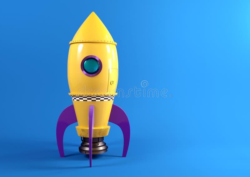 减速火箭的黄色玩具火箭队 向量例证