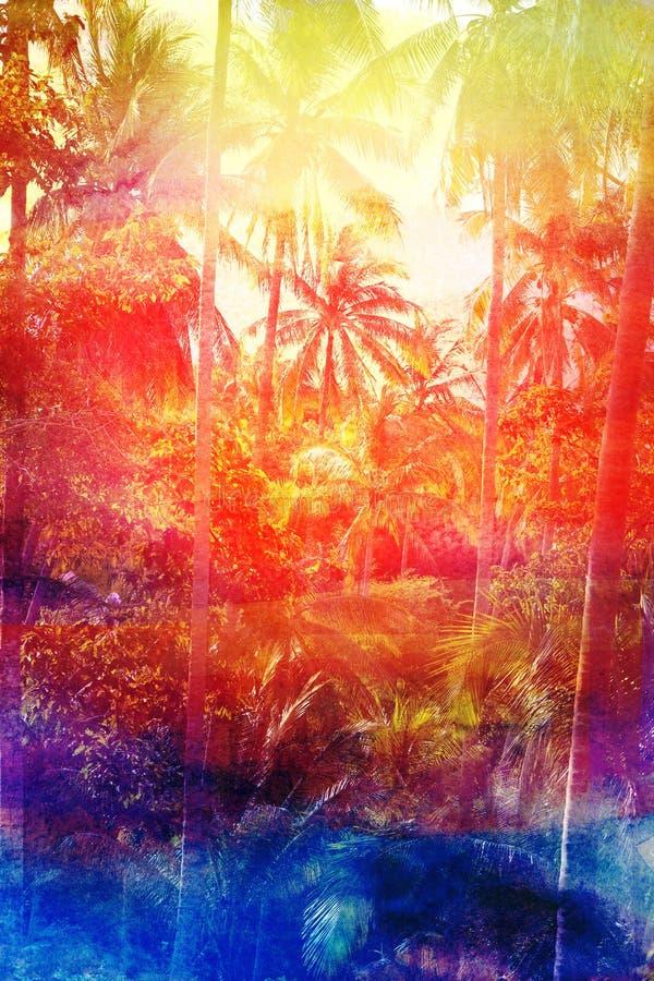 减速火箭的水彩棕榈树丛 库存例证