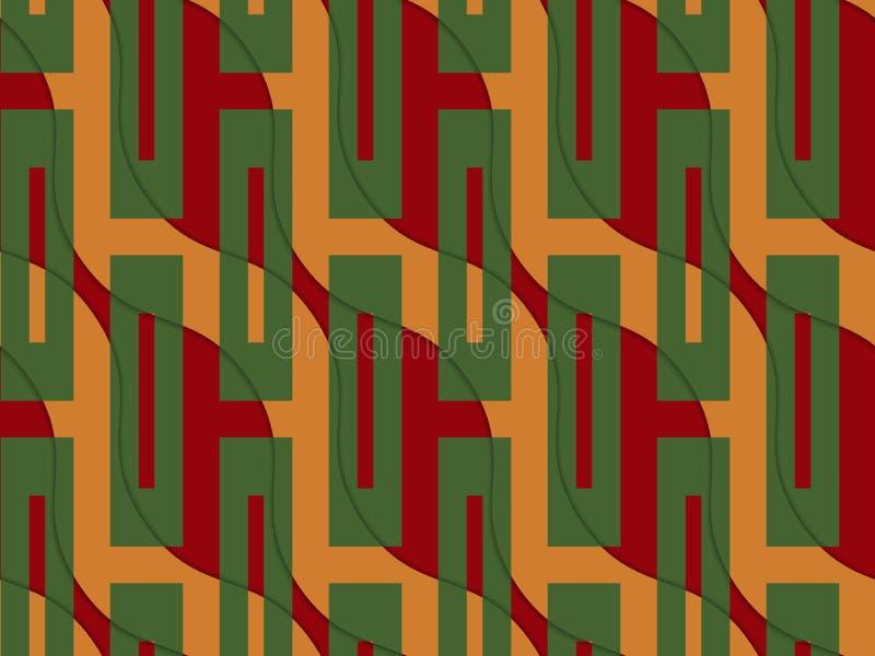减速火箭的3D橙色和红色波浪与绿色长方形 皇族释放例证