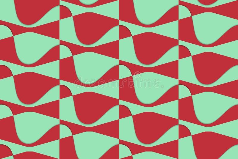 减速火箭的3D红色和绿色波浪 向量例证