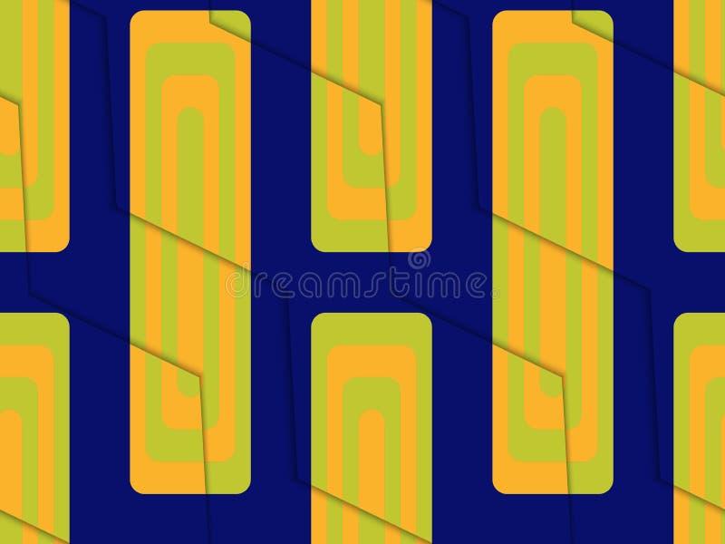 减速火箭的3D蓝绿色和桔子之字形用长方形切开了 皇族释放例证
