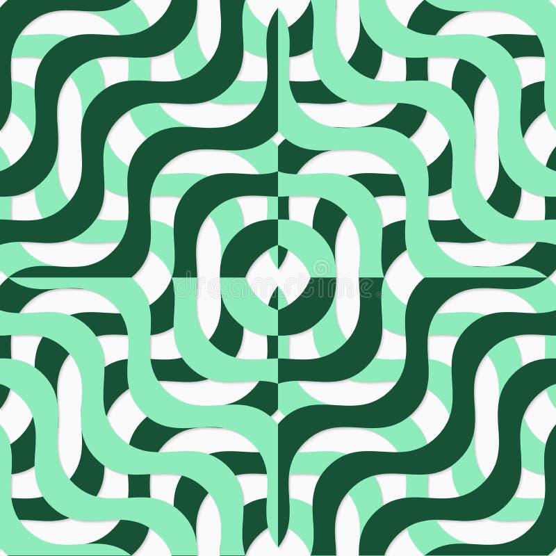 减速火箭的3D绿色波浪正方形 库存例证