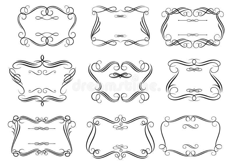 减速火箭的curlicue框架或漩涡花饰在浪漫 向量例证