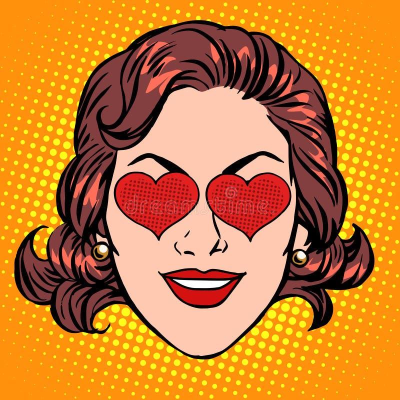 减速火箭的Emoji爱心脏妇女面孔 皇族释放例证