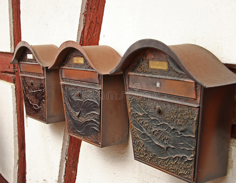 减速火箭的letterboxes 库存照片