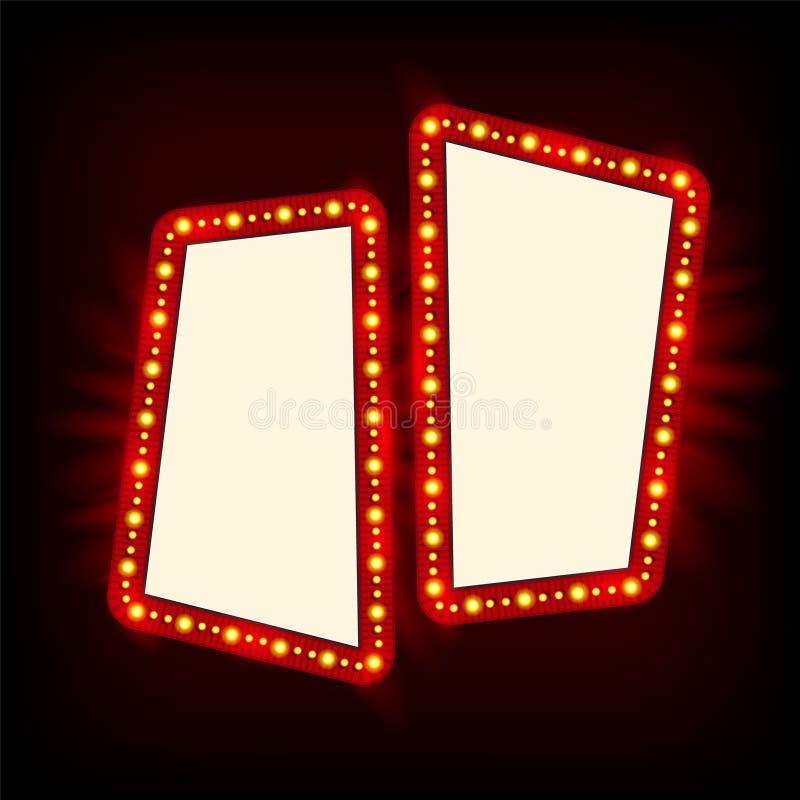 减速火箭的Showtime 20世纪50年代标志设计 霓虹灯广告牌 戏院和剧院标志电灯泡框架待售飞行物 库存例证