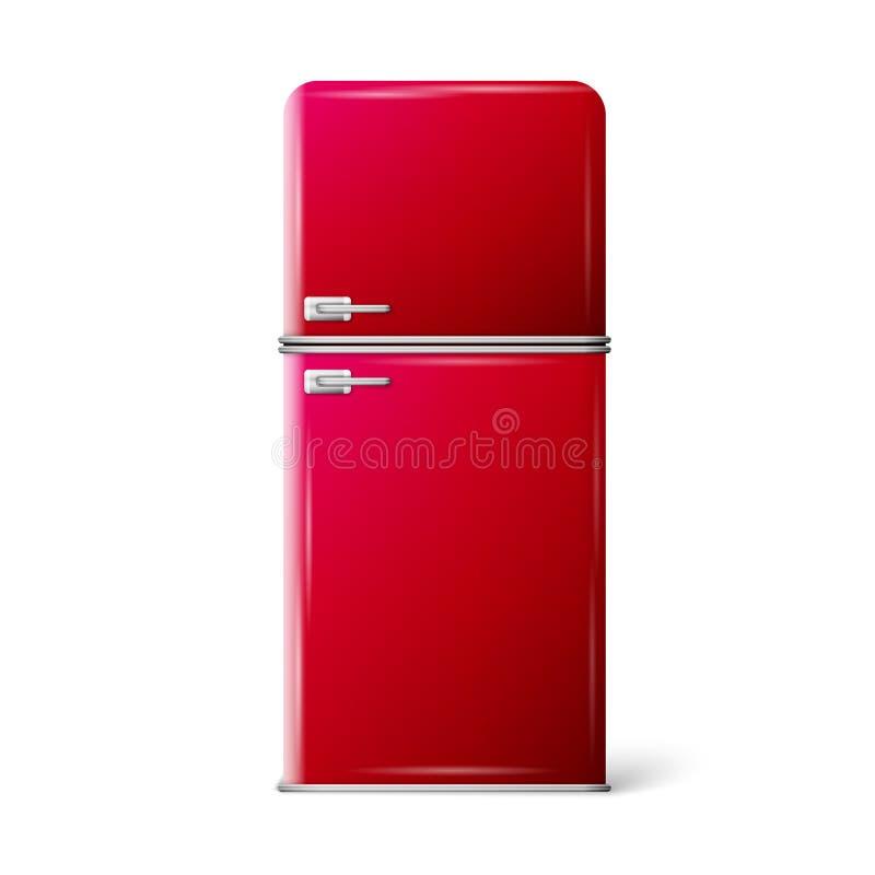 减速火箭红色的冰箱 向量例证