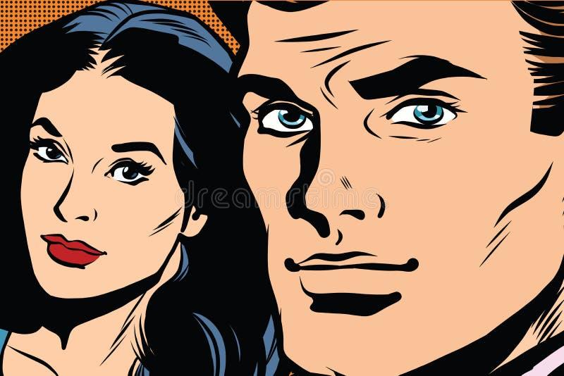 减速火箭美好的夫妇男人和妇女的流行艺术 皇族释放例证