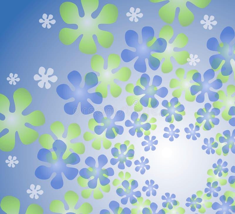 减速火箭蓝色花卉的万花筒 向量例证