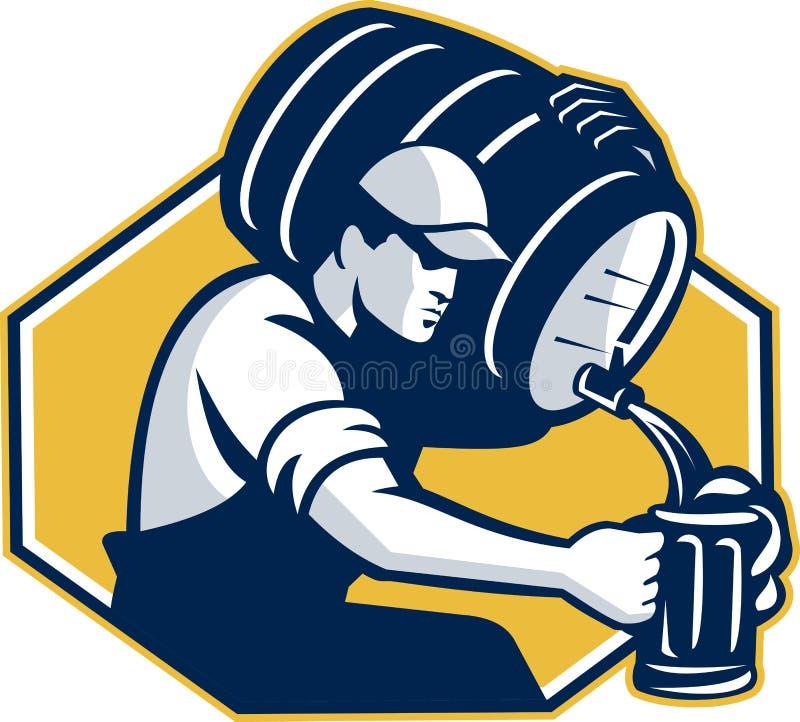 减速火箭酒吧招待倾吐的小桶桶的啤酒 向量例证