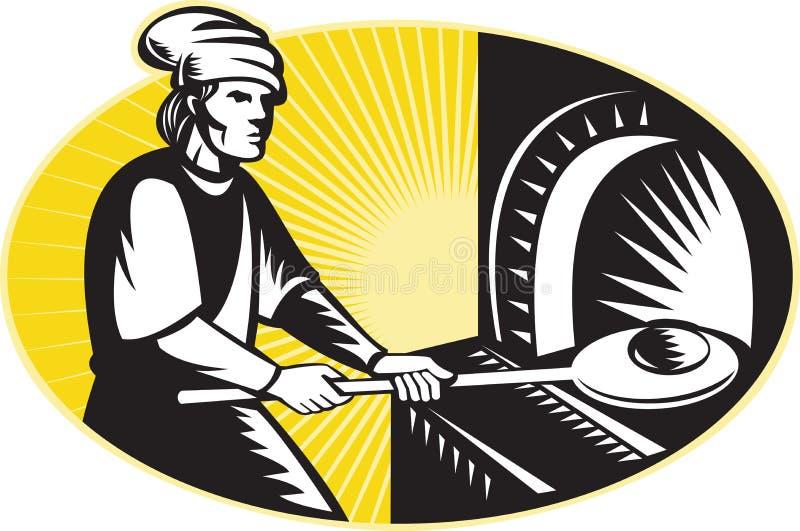 减速火箭面包师烘烤面包中世纪烤箱&# 向量例证