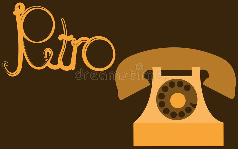 减速火箭,老,古色古香,行家,葡萄酒,古老,圆盘,有一支管的金黄电话有在美丽的yello写的减速火箭的题字的 皇族释放例证