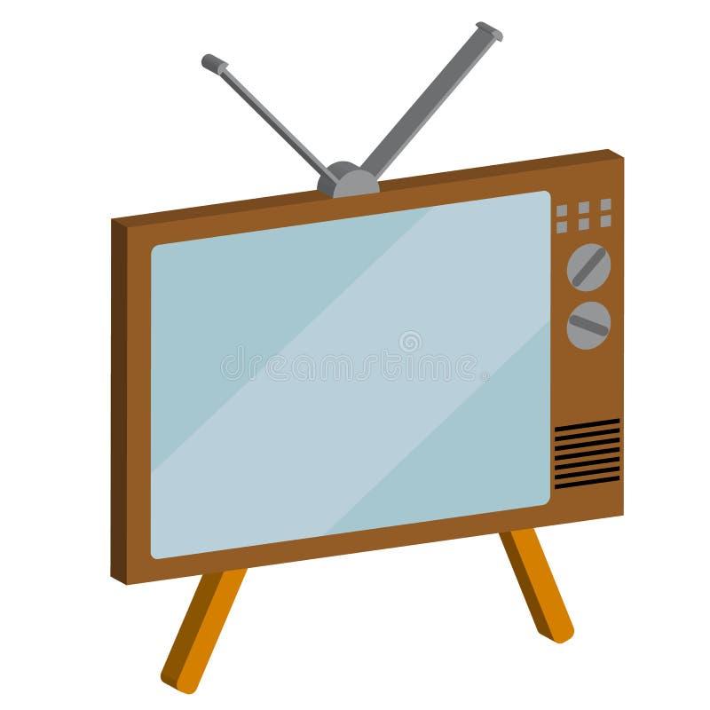 减速火箭,老,葡萄酒,行家, 3d,在白色背景的容量电视显象管电视 皇族释放例证