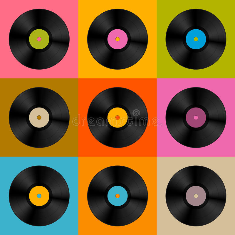 减速火箭,葡萄酒传染媒介唱片圆盘 库存例证