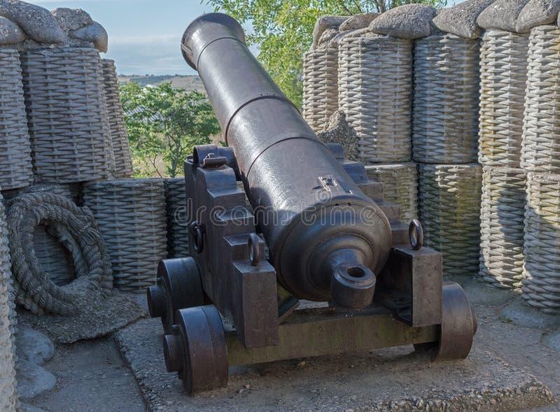 减速火箭黑色的炮铜 库存照片