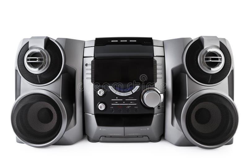 紧凑立体音响系统cd和卡式磁带播放机隔绝与clipp 免版税库存图片