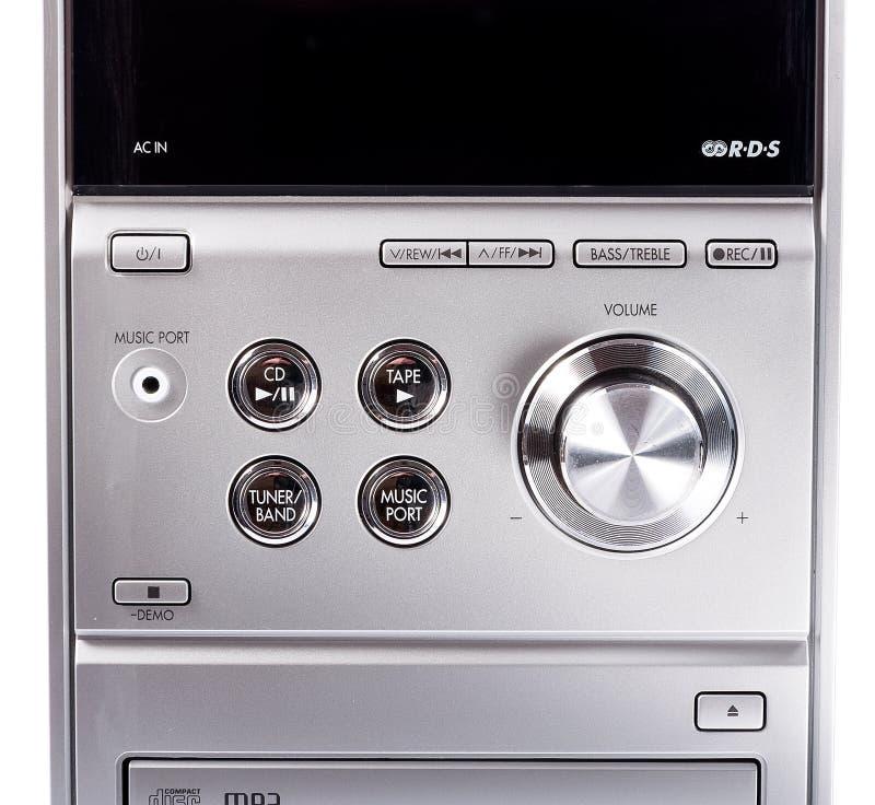 紧凑立体音响系统cd和卡式磁带播放机 库存照片
