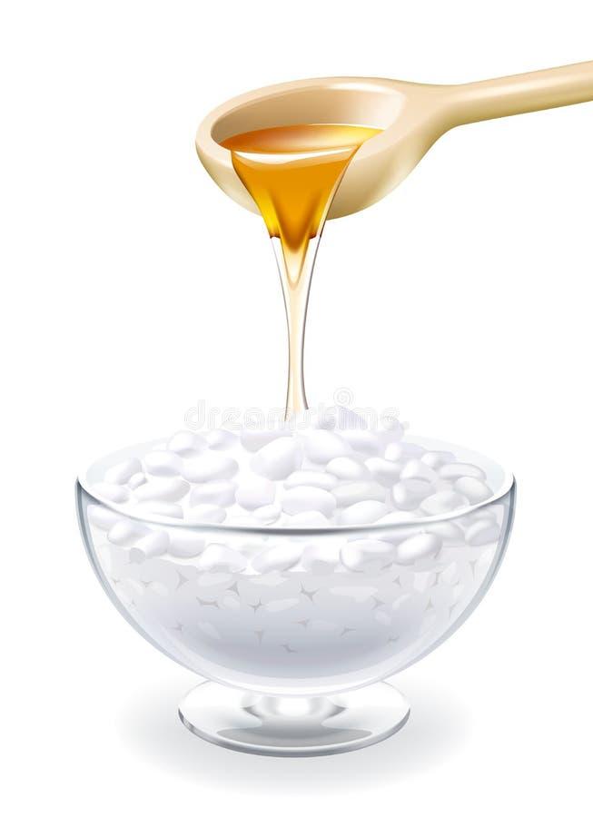 凝乳用在玻璃的蜂蜜 向量例证