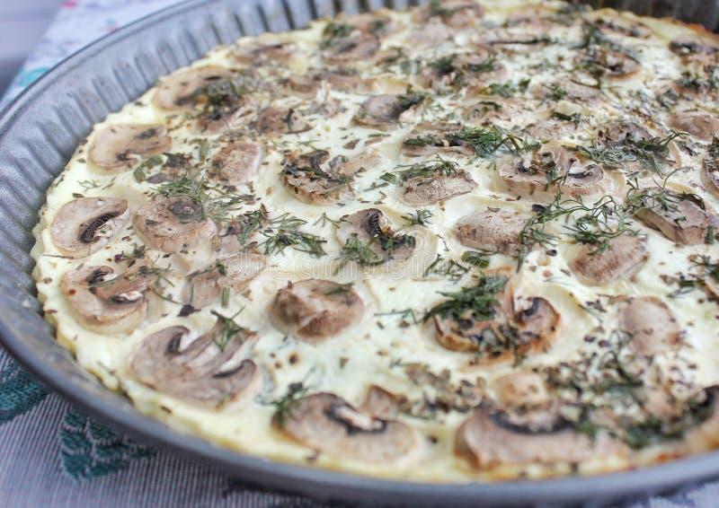 凝乳酪薄饼用蘑菇和蕃茄,健康食物 库存图片