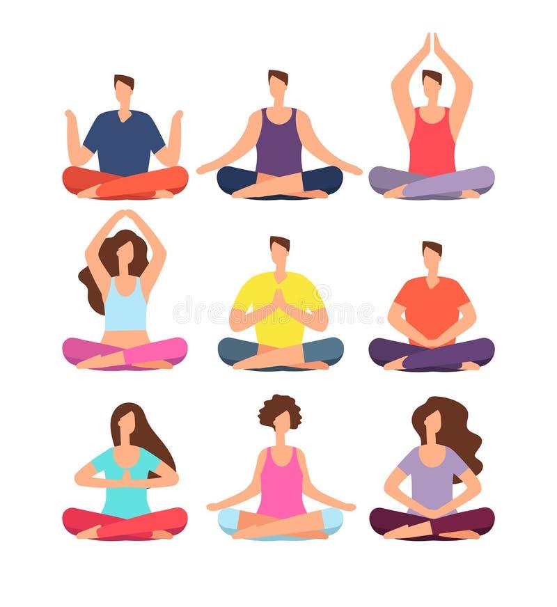 凝思人 妇女和人思考在瑜伽的小组的或pilates分类 被隔绝的字符传染媒介集合 向量例证