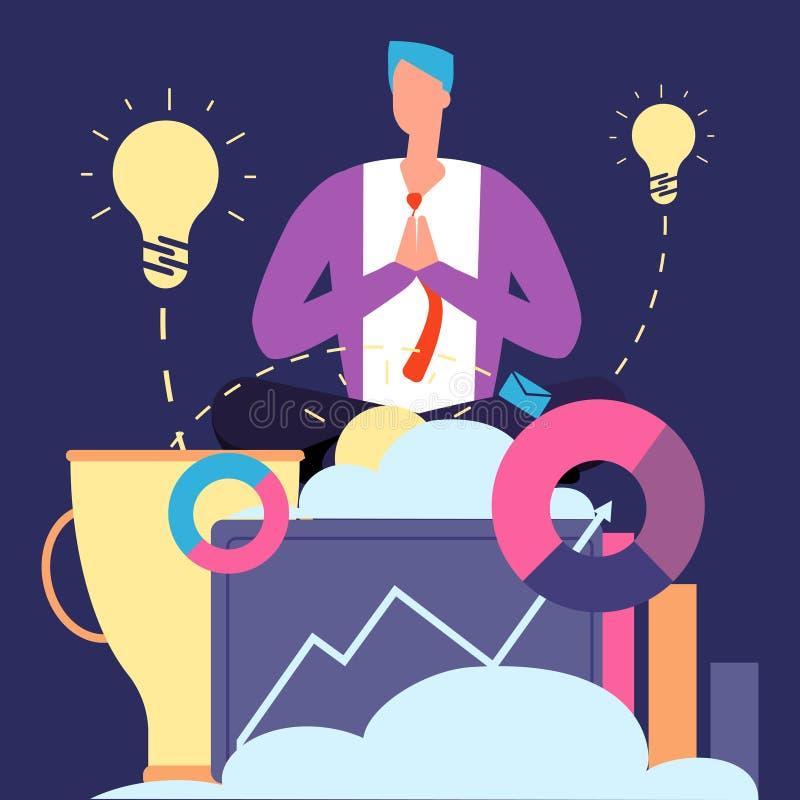 凝思和想法概念 创造性的商人放松的传染媒介例证 库存例证