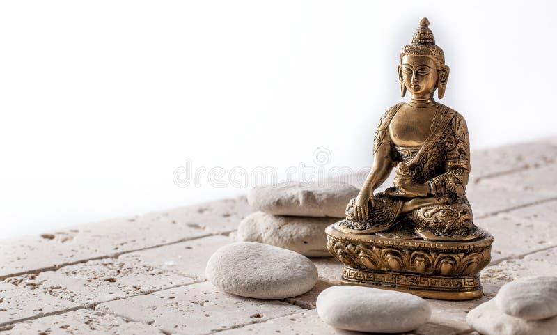 凝思和福利的,拷贝空间佛教和留心标志 免版税库存图片