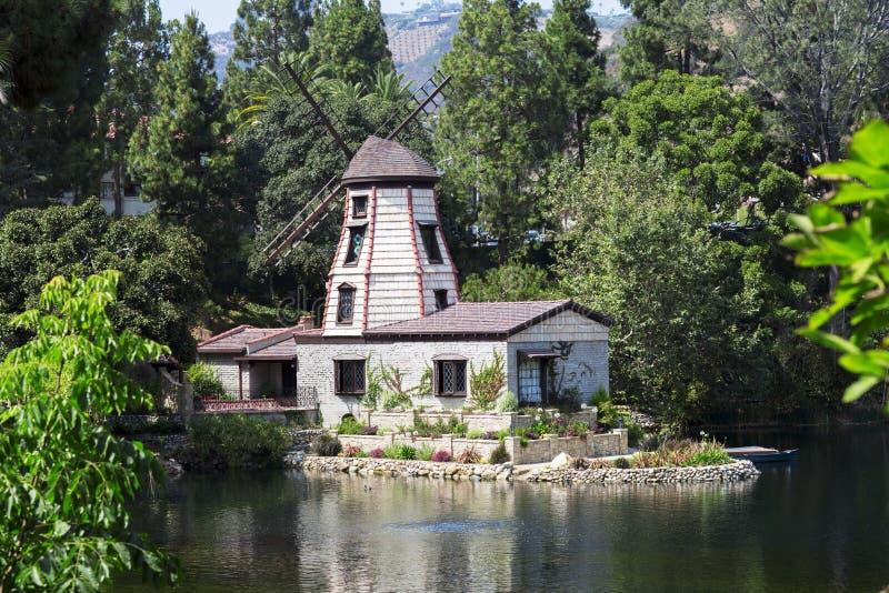 凝思庭院在圣塔蒙尼卡,美国 免版税图库摄影