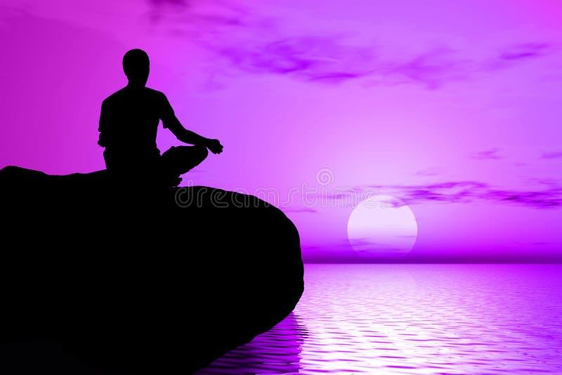 凝思日出瑜伽 免版税库存图片