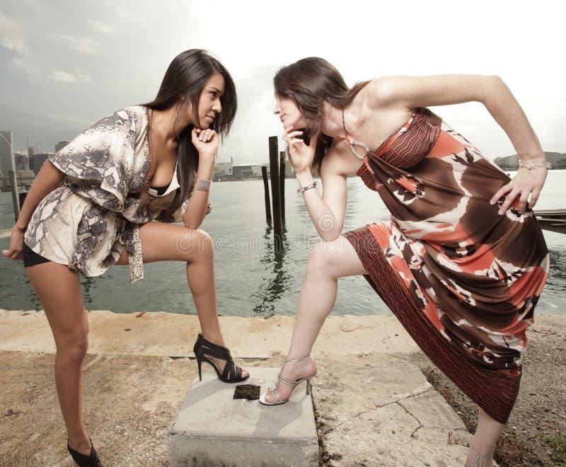 凝视二名妇女 免版税图库摄影