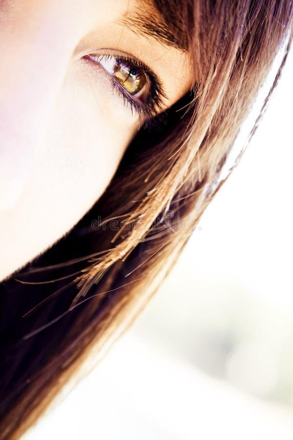 凝视妇女的眼睛 库存照片
