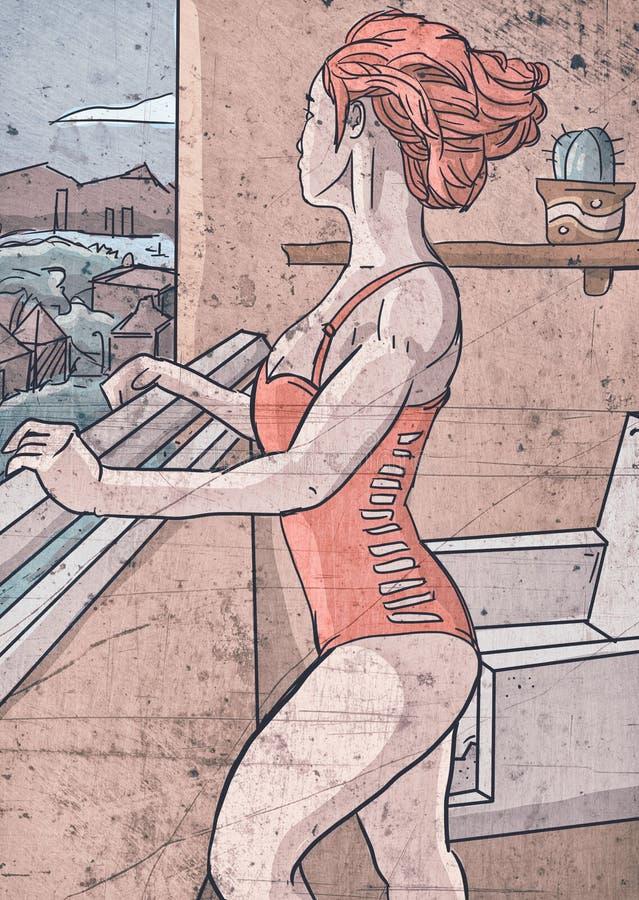 凝视空隙的阳台女孩 免版税库存图片