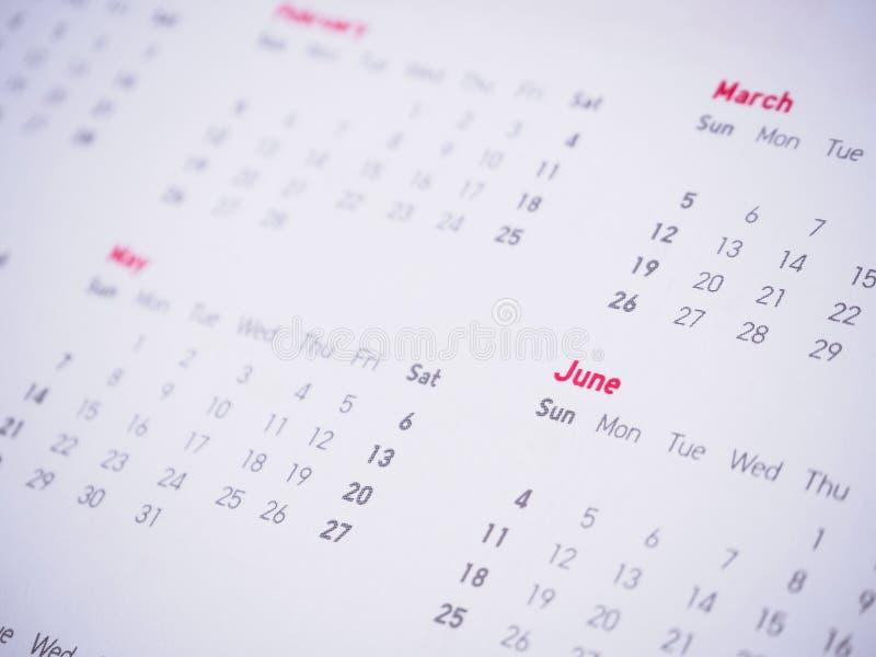几个月和日期在日历 免版税库存照片