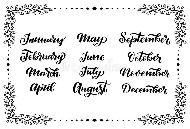 几个月的手写的名字:4月2月12月, 3月1月, Calligr 10月8月6月, 11月9月7月, 向量例证