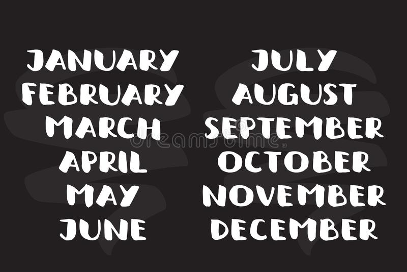 几个月的手写的名字 日历模板 大胆的字体 向量例证