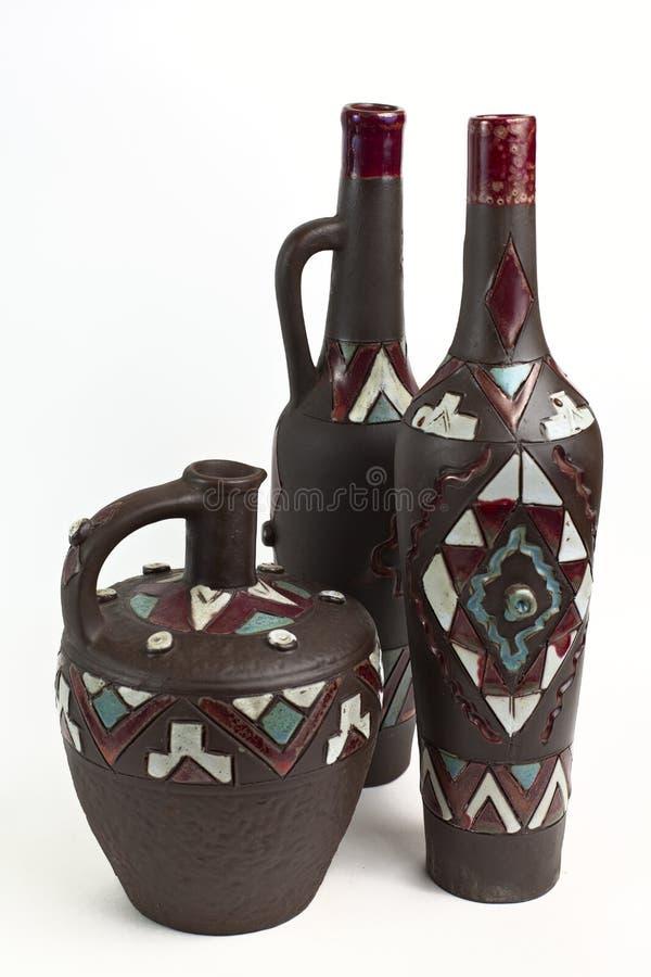 几个瓶黏土 免版税库存照片