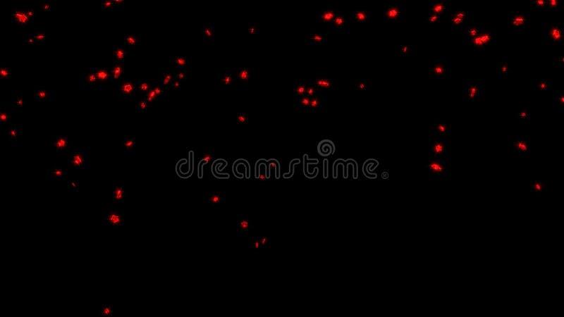 几个胖的红色五个Branchs星雨  向量例证