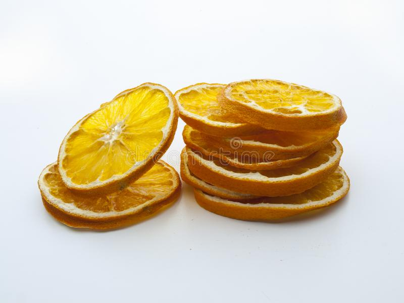 几个被脱水的橙色切片细节  库存照片