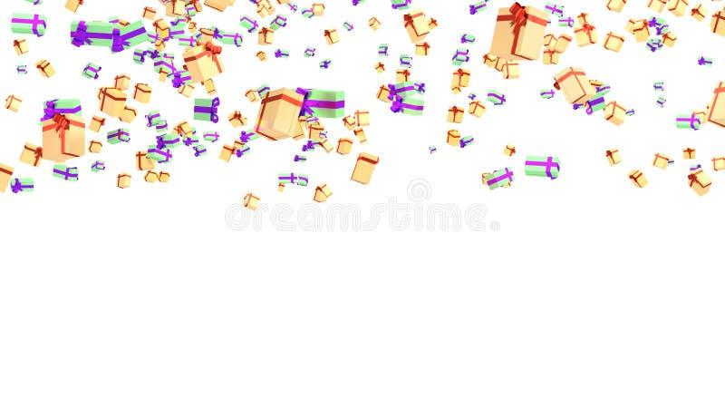 几件绿色紫色和橙红金礼物雨  皇族释放例证